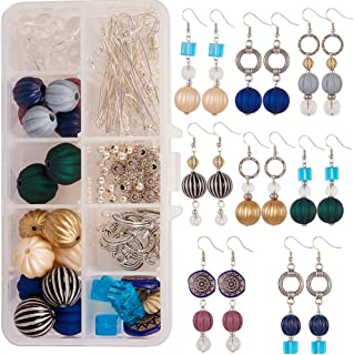 SUNNYCLUE 1 Box DIY 8 Pairs Pumpkin Ball Dangle Earrings Making Kit Instruction Round Acrylic Corrugated Beads Jewelry Arts Craft Supplies Halloween New Year Theme Mixed Color