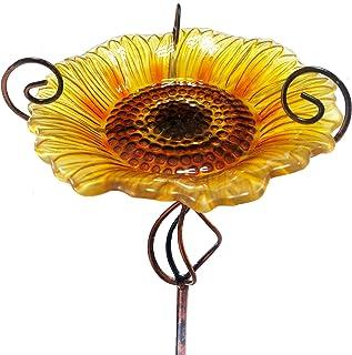 SANKUU 31.1 Inch Height Glass Bird Bath, Birdbaths Birdfeeder with Metal Stake for Garden Outdoor Decoration (Yellow)
