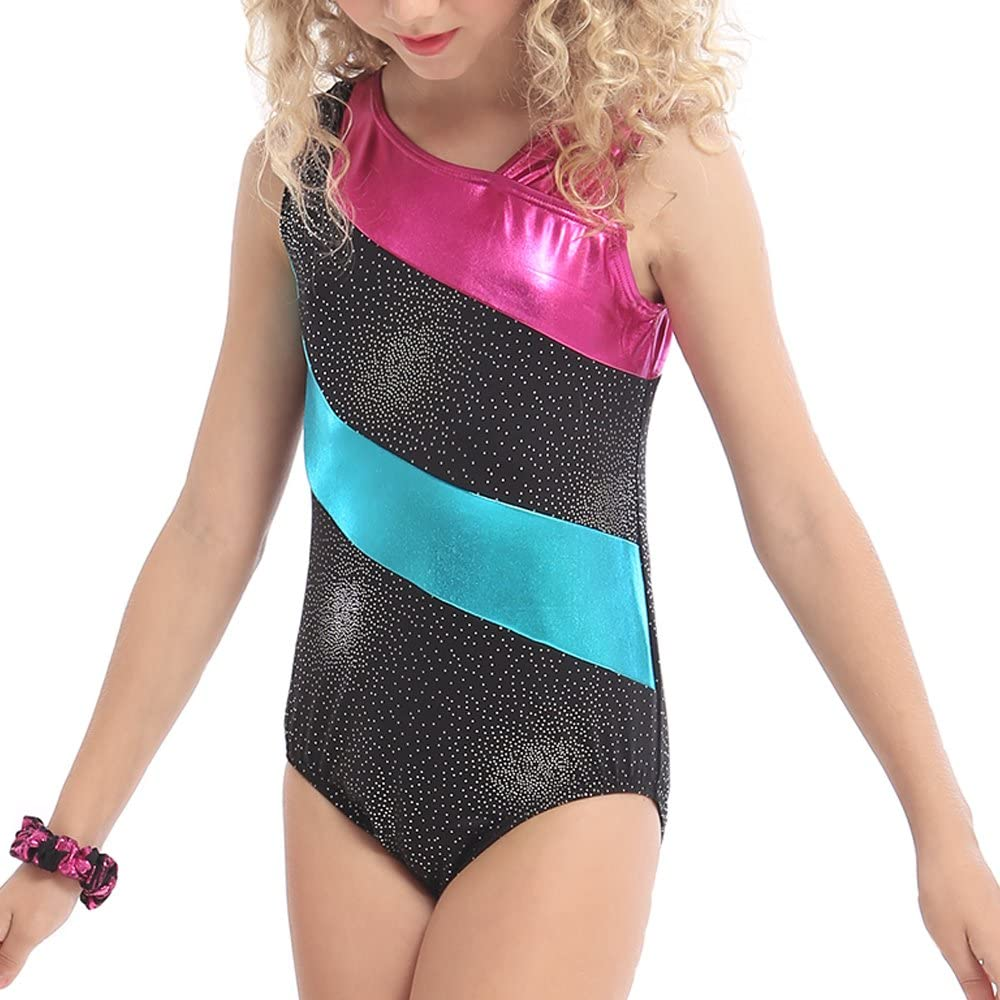 DAXIANG One-Piece Rainbow Stripes Ballet Tutu Dancing Athletic Leotard for Little Girl