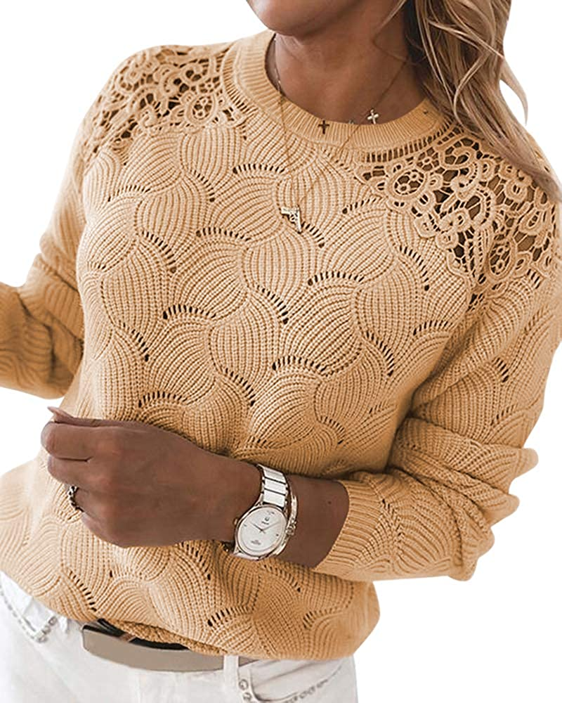 Danedvi Women Fashion Lace Patchwork Pullover Sweaters Solid Color Round Neck Knitwear Tops