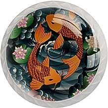 Lade Handvatten Trek Decoratieve Kast Knoppen Dressoir Lade Handvat 4 Pcs,Japan karper Koi Fish
