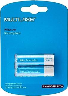 Multilaser CB053, Pilhas Recarregáveis AA 2500Mah, 2 Unidades