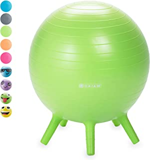 Gaiam Kids Stay-N-Play Children's Balance Ball - Flexible School Chair Active Classroom Desk Alternative Seating | Built-In Stay-Put Soft Stability Legs (Available in Multiple Colors, Prints & Sizes)
