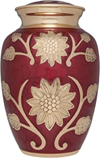 Red Lacquer Flower Funeral Urn Gold Rose - Cremation Urn for Human Ashes - Brass - Suitable for Cemetery Burial or Niche - Rose Lisette Model - Large Size fits Remains of Adults up to 200 lbs