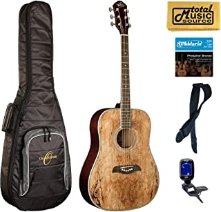 Oscar Schmidt OG2SM Acoustic Guitar - Spalted Maple Gigbag Bundle