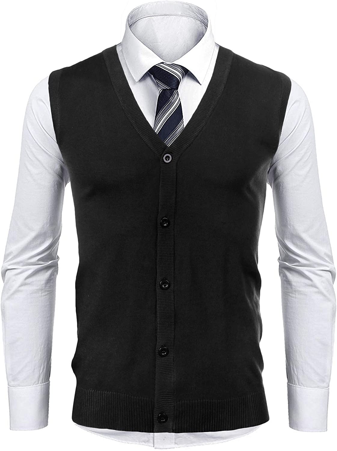 iClosam Mens Casual V-Neck Slim Knitted Vest Max 74% OFF Lightwe Fit Sweater Spasm price