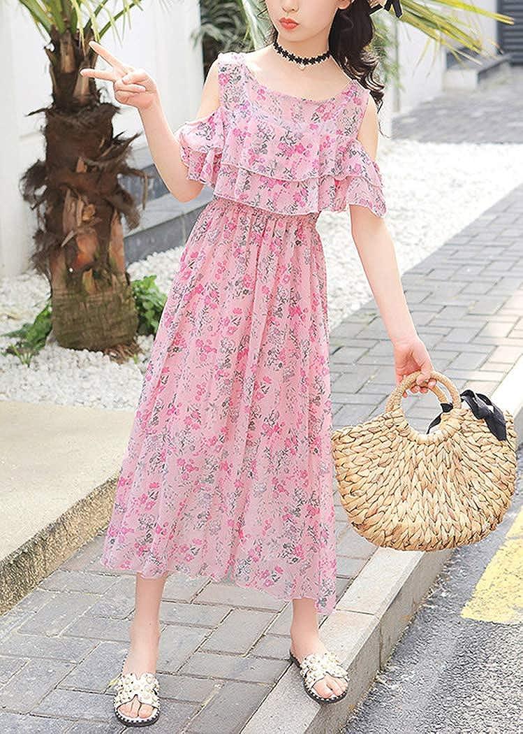 Little Big Girls Summer Floral Dresses Spaghetti Strap Cold Shoulder Boho Dress