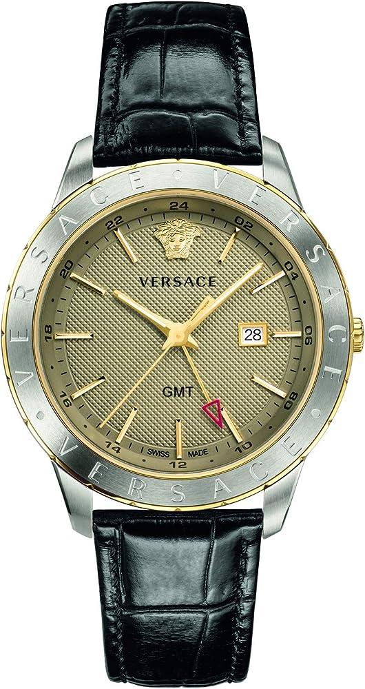 Versace orologio cronografo da uomo, con cinturino in pelle cassa in acciaio inox VEBK00218