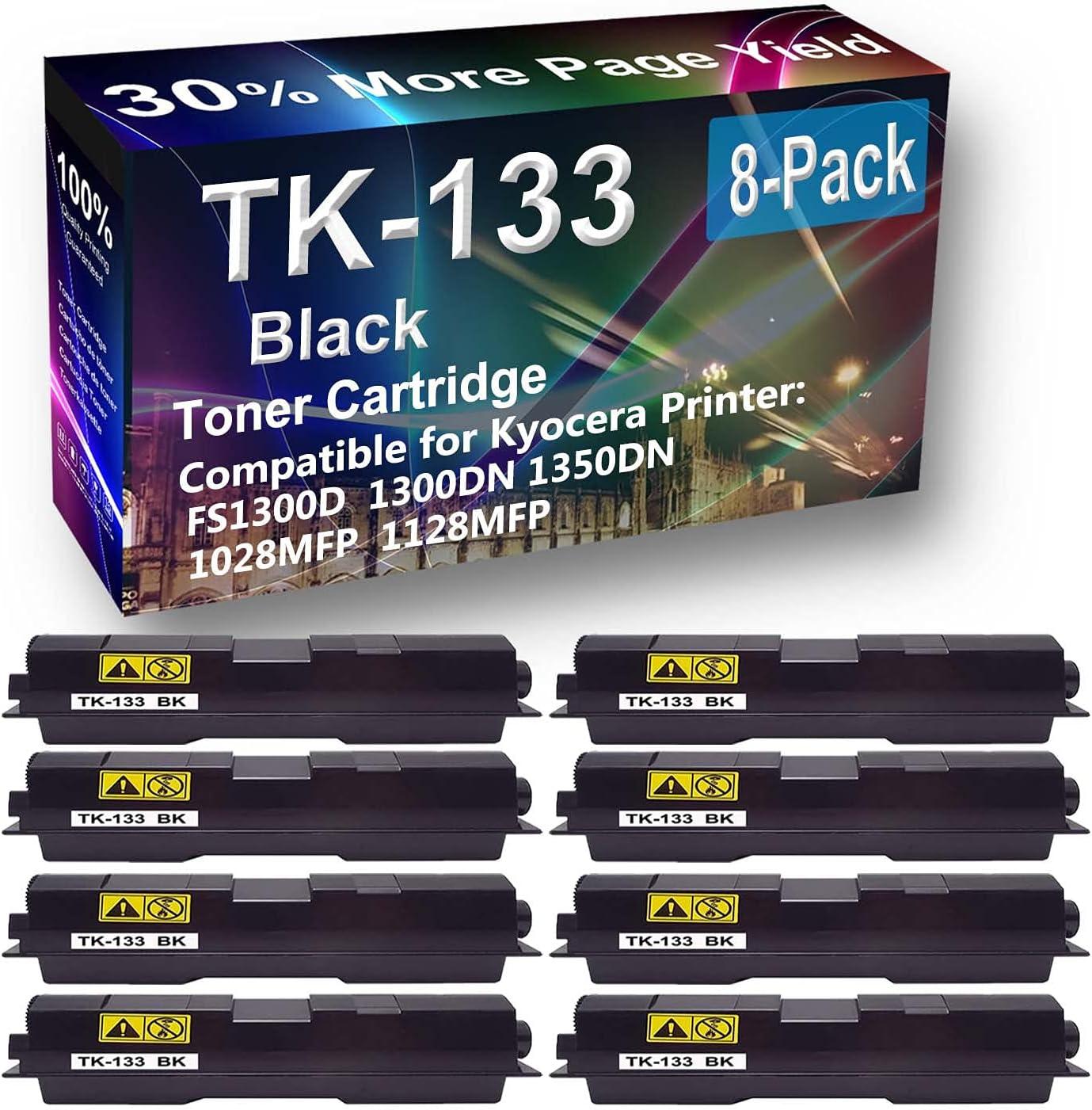 8-Pack Compatible High Yield 1350DN Printer Cartridge Replacement for Kyocera TK133 (TK-133) Toner Cartridge (Black)