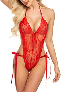Teddy Lingerie for Women Deep V Halter Lace Bodysuit One Piece Babydoll
