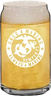 USMC Beer Mug Marine Corps Glass Gifts Idea for Men Women Graduation Son Husband Wife and Birthday With Prime by Mugish 16oz