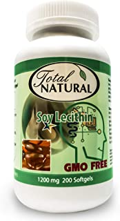 Soy Lecithin 1200mg 200 Softgels [1 Bottle] by Total Natural, Brain and Heart Health, Regulate Cholesterol Levels, Liver a...