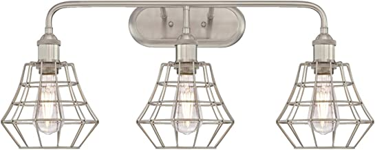 Westinghouse Lighting 6336800 Nathaniel Three-Light Indoor Wall Fixture, Brushed Nickel Finish with Angled Bell Cage Shades,