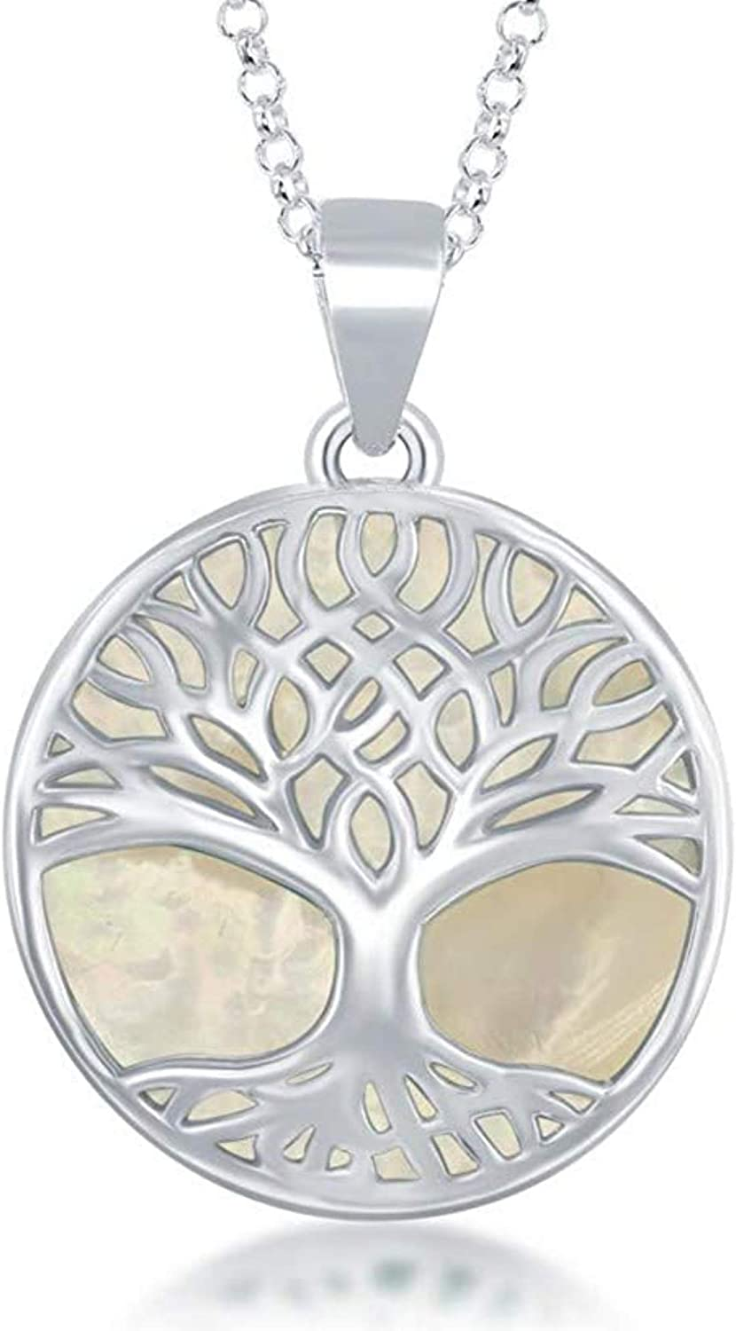 Sterling Silver Natural Turquoise Mother-of-Pearl Abalone Houston Mall 2021 new Tree o