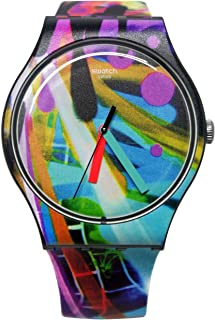 Swatch SUOB163 City Walls Black Blue Orange Analog Dial Silicone Band Watch New