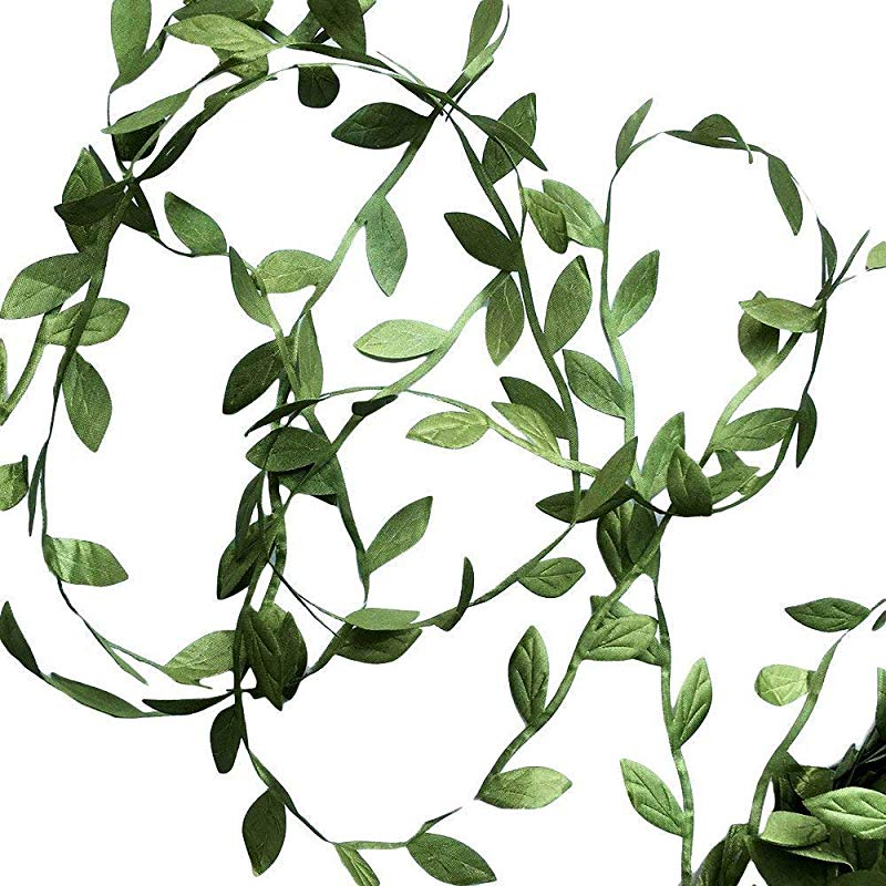 Hecaty 132 Ft Olive Green Leaves Leaf Trim Ribbon For Baby Shower DIY Craft Party Wedding Home Decoration Large Leaf 132ft