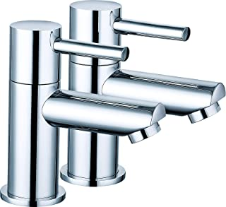 """VeeBath Julia 1/2"""" Round Twin Hot and Cold Sink Basin Taps Brass Faucet Pair with Ceramic Disc Technology - Chrome"""