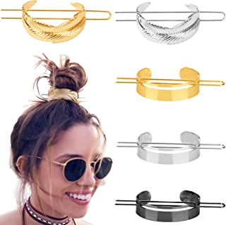 5 Pieces Round Top Hair Pin Hair Cuff Clips High Polished Metal Messy Bun Cage Minimalist Vintage Hair Stick Fork Ponytail Holder Hair Accessories for Women Girls Gold Silver Black