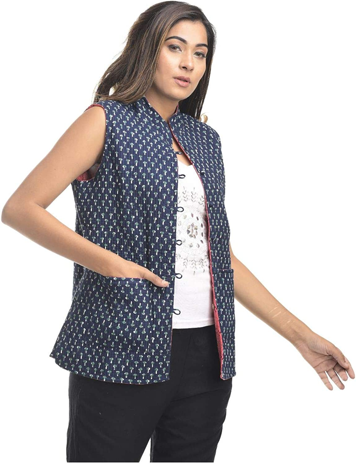Indian Handicraft Palace Cotton Woman/Girl Indian Style Hand Block Printed wrap Quilted Reversible Jacket