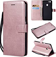 Fashion Protective Case Solid Color High Quality PU Leather Flip Wallet Bracket With Wristband Cover Design For OPPO F5/F5 Youth/ A73 Phone Case (Color : Rose Gold)