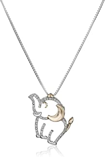 Sterling Silver and 14k Rose Gold Diamond Elephant Pendant Necklace