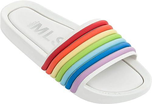 Melissa Unisex Beach Slide Rainbow 20 Plastic Sandal blanc