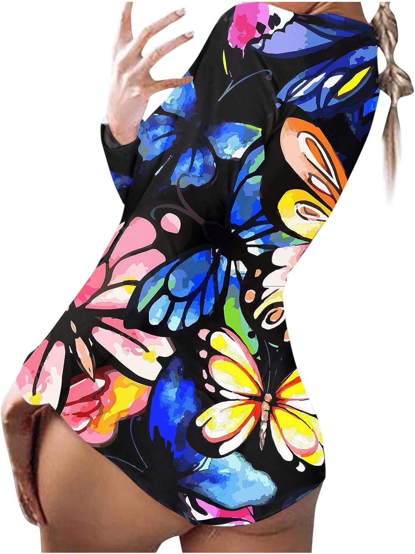 Bodysuit for Women Jumpsuit,Pajamas Homewear Butterfly Pattern Back Flap Rompers Playsuits V-neck Nightwear Sleepwears