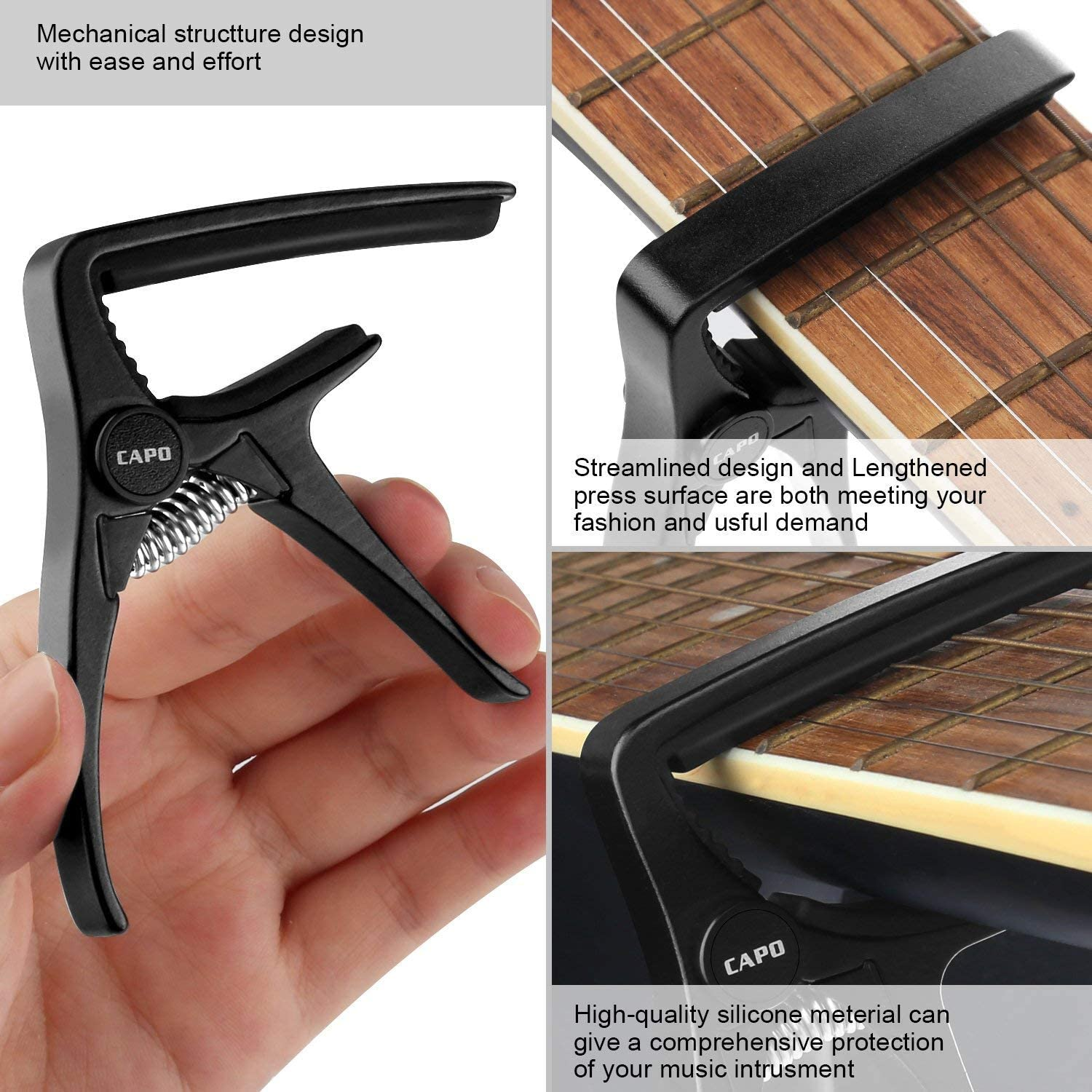 Black capo Guitar capo for Acoustic and Electric Guitar with 6 String Made of High-grade Lightweight Zinc alloy Material