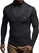 Leif Nelson Men's Knitted Pullover   Long-sleeved slim fit shirt   Basic winter sweatshirt with shawl collar for Men
