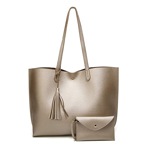 SIFINI Women Tote Bag Tassels Faux Leather Bags Simple Shoulder Handbag  with Fashion Small Wristlet Purses c2a614ffe0511