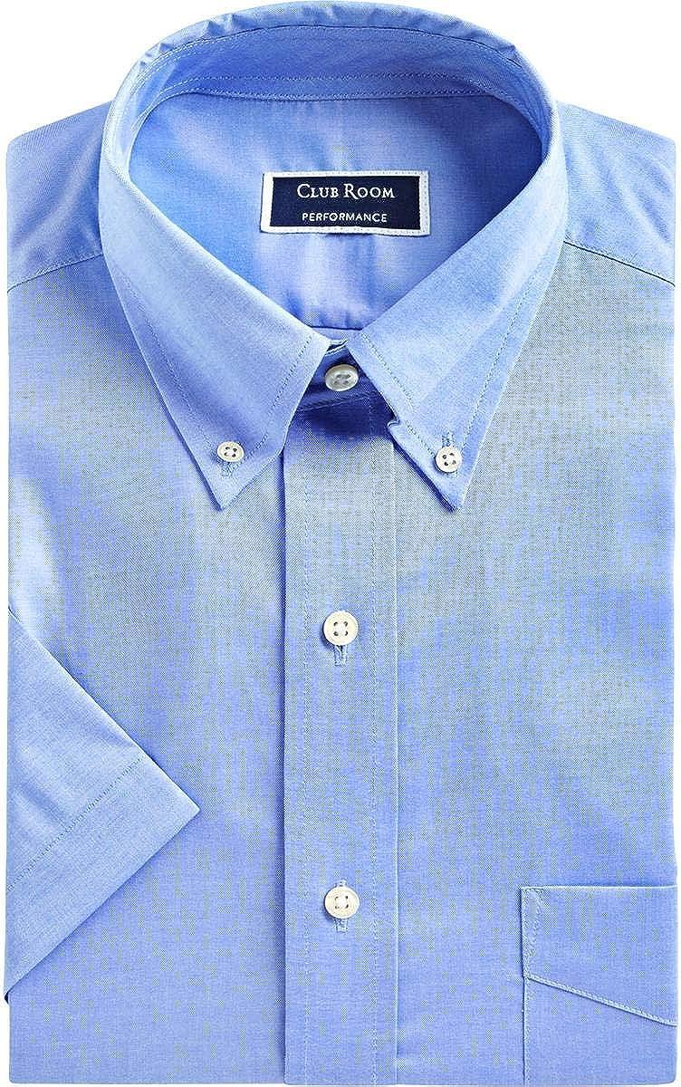 Club Room Mens Pin-Point Wrnkle-Resistant Dress Shirt Blue