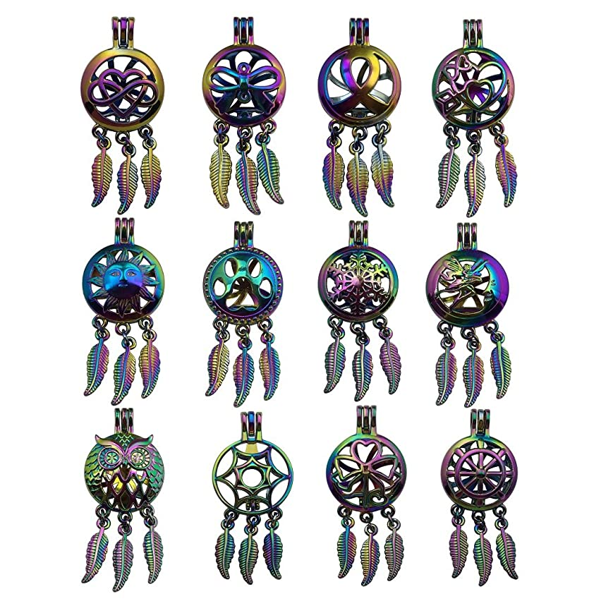 10pcs Mixed Shape Colorful Rainbow Dream Catcher Pearl Cage Bead Cages Pendants for Jewelry Making/Aromatherapy Essential Oil Scent Diffuser Locket Pendant m220 (Mixed No Duplicate)