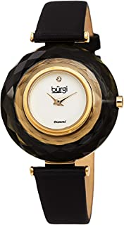 Burgi Colored Faceted Crystal Bezel Women's Watch - Unique Large Color Faceted Crystals with Slim Satin Strap Three Hand Movement with a Diamond Marker - BUR252