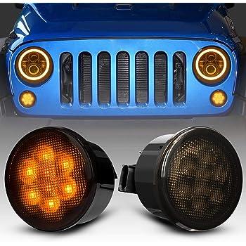 for Jeep Wrangler JK 2007-2018 Smoke Lens Front Amber LED Turn Signal Lights