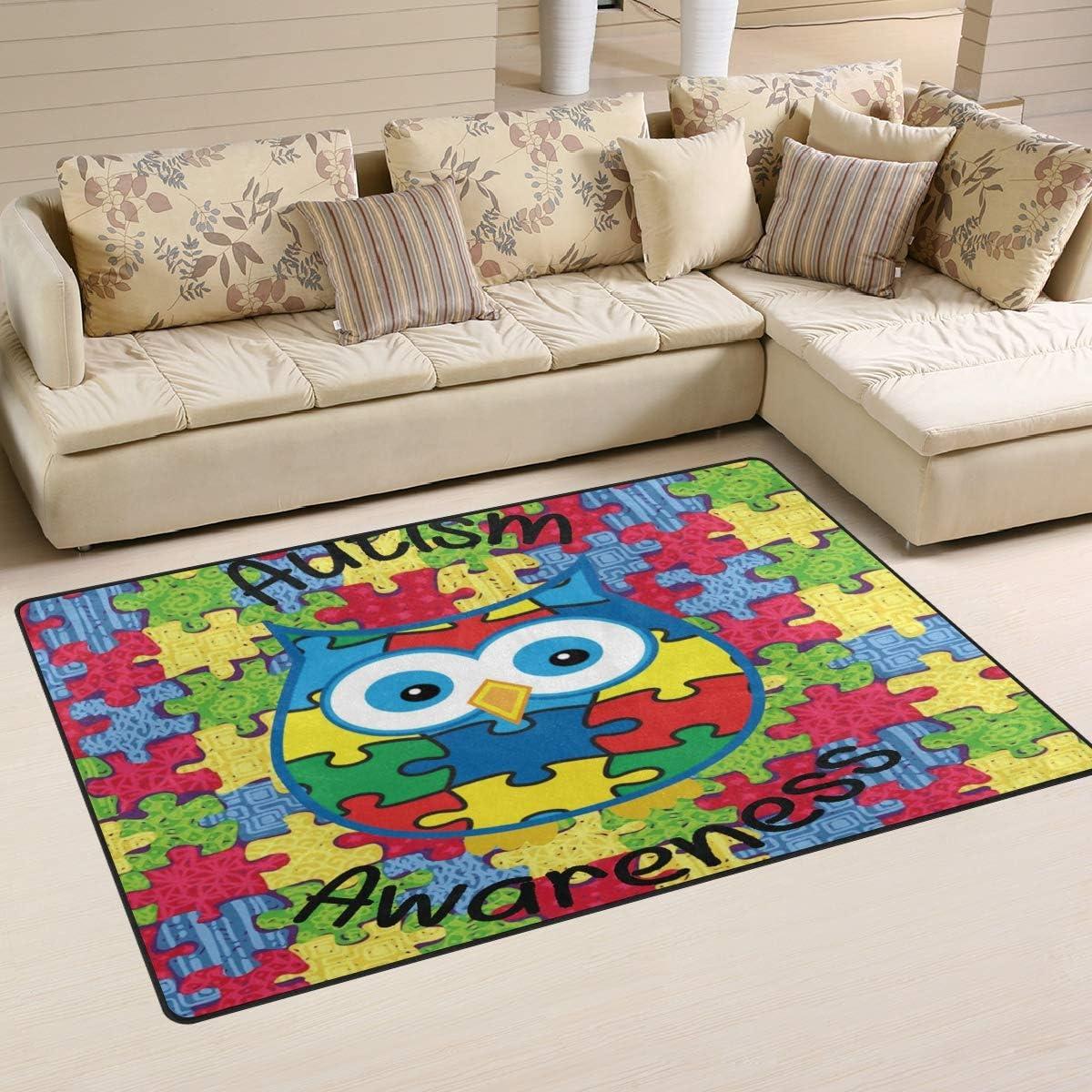 Ainans Autism Awareness Owl Area Rug Seasonal Wrap Introduction Floor Max 76% OFF Mat Carpet Non-Slip D