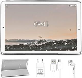 Tablet 10.0 Pulgadas YESTEL Android 10.0 Tablets con 4GB RAM + 64GB ROM/WiFi | Bluetooth | GPS, 8000mAH con Cubierta-Plata