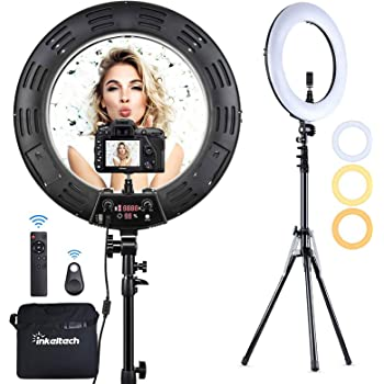 Makeup Selfie YouTube Camera, DLMPT Ring Light with Stand 14 Inch 2800K-6200K Dimmable LED Ring Light with Remote Control Lighting Kit for Vlog