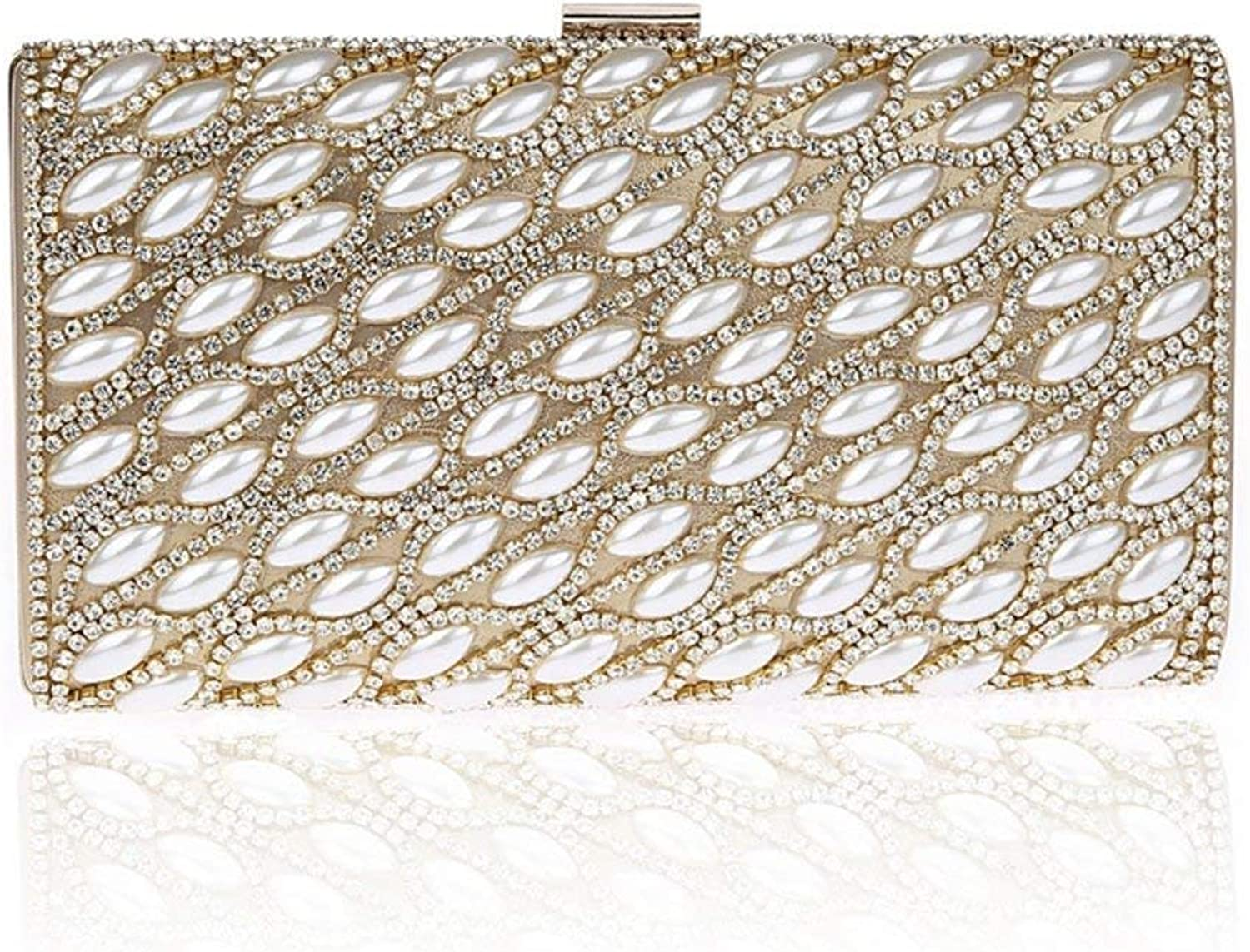 Ladies Handbag Rhinestone Evening Bag,Diamond Pearl with Chain Strap Women's Handbag for Dance Wedding Party (color   golden, Size   22x12x3cm(9x5x1inch))