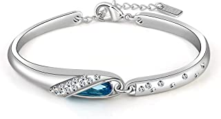 JOUDOO Woman Bracelet with Blue Swarovski Crystal Fairytale Design Hand Chain