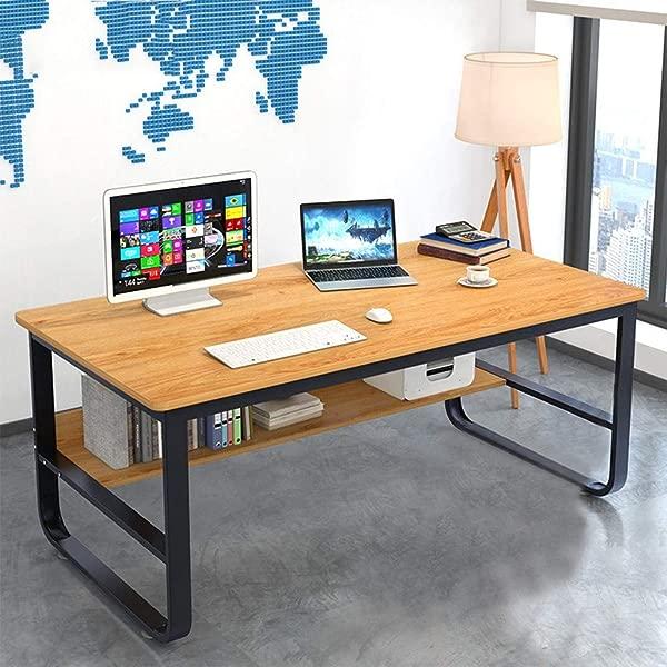 Sodoop Desktop Computer Desk Modern Simple Home Desk Student Writing Household Desktop Office Desk Modern Economic Laptop Study Desk Workstation With Bottom Shelf US Stock