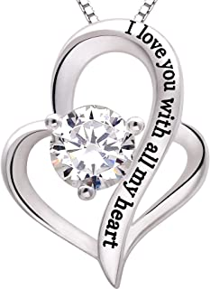 ALOV Jewelry Sterling Silver I Love You with All My Heart Love Heart Cubic Zirconia Necklace