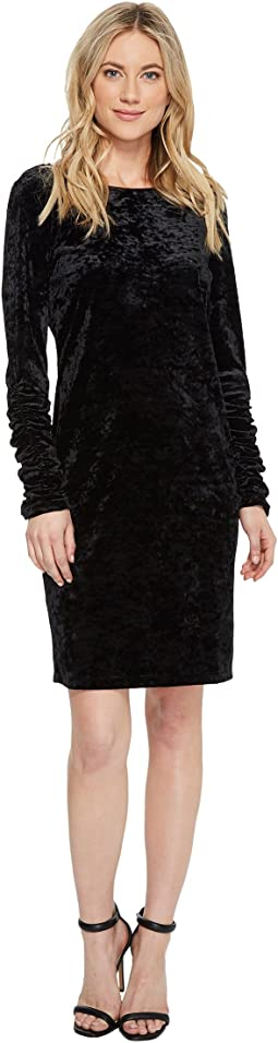 Vince Camuto - Ruched Long Sleeve Knit Crushed Velvet Dress