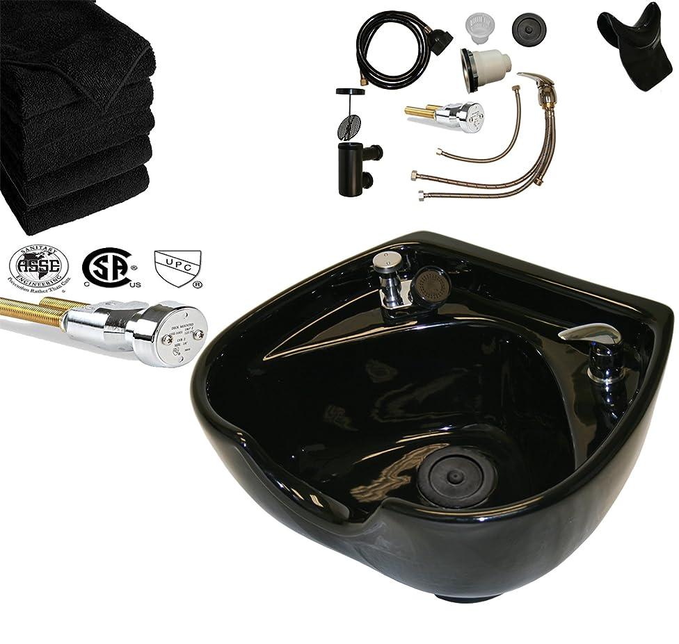 Professional Heart Shaped Heavy Duty CERAMIC Black Shampoo Bowl w/Vacuum Breaker, Hardware & 6 black Salon Quality Towels