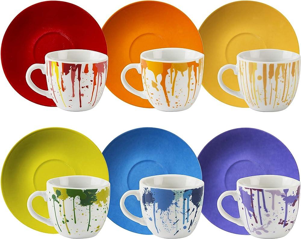 Excelsa dripping, set di 6 tazzine da caffè con piattino, in porcellana multicolore 64013