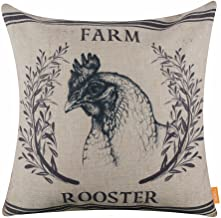 LINKWELL 18x18 Farm Rooster Burlap Pillow Cover Cushion Cover CC1506