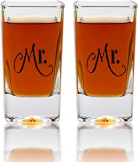 Mr. & Mr. Square Shot Glasses - Gay Couple Same Sex Tall Shot Set - Engagement, Wedding, Anniversary, House Warming, Host Gift, 2.8 Ounce