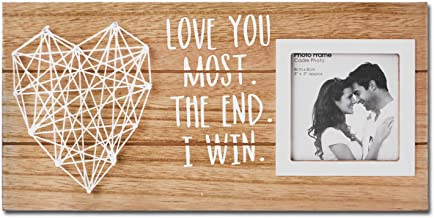 VILIGHT Boyfriend and Girlfriend Gifts Couples Picture Frame - Love You Most The End I Win Rustic Wood Plaque Sign for 3 Inches Photo