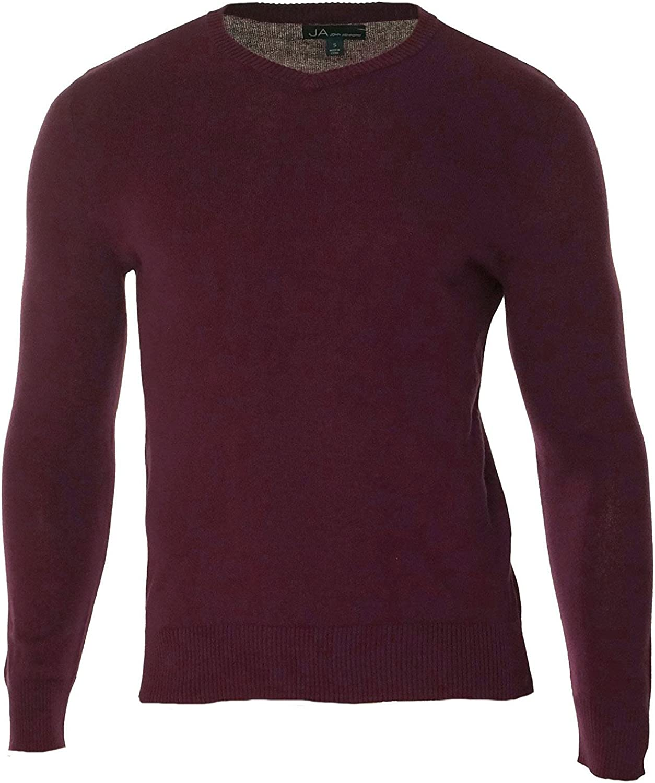 John Ashford Men's Solid Color Long Sleeve V-Neck Sweater