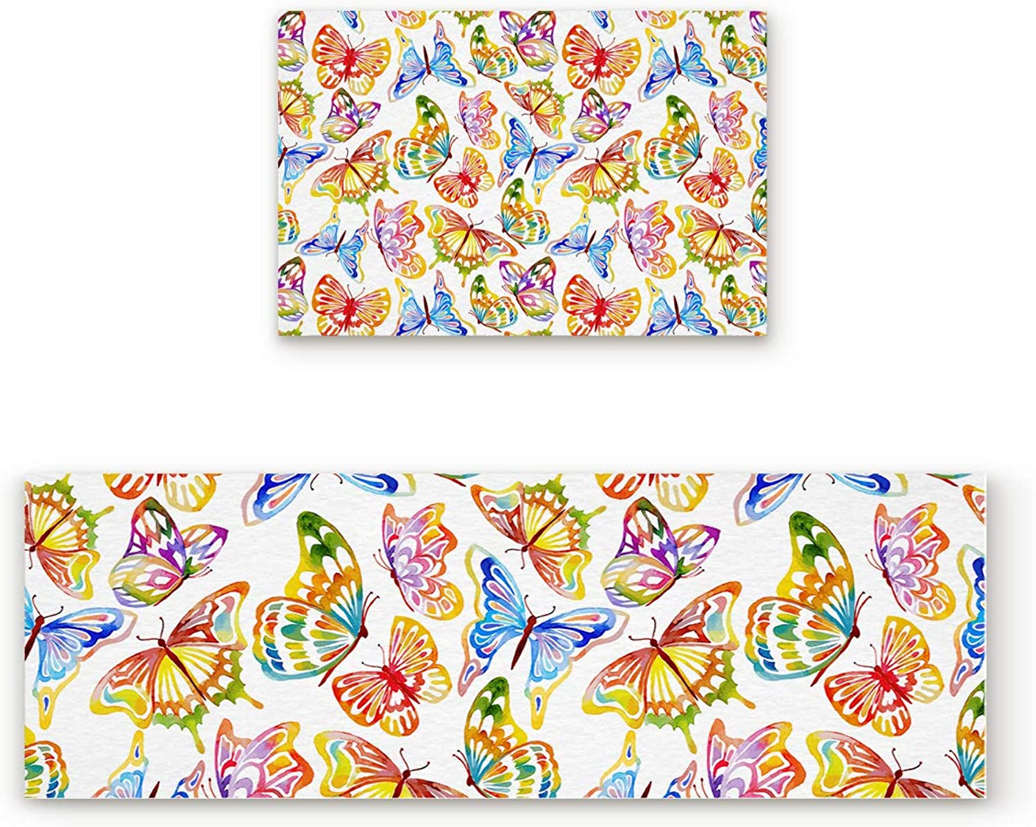 Aomike 2 Piece Non-Slip Kitchen Mat Rubber Backing Doormat colorful Vivid Butterfly Runner Rug Set, Hallway Living Room Balcony Bathroom Carpet Sets (19.7  x 31.5 +19.7  x 47.2 )