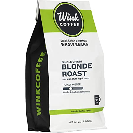 Wink Blonde Roast Whole Bean Coffee, Large 2.2 Pound Bag, 100% Arabica Coffee Beans, Single Origin Colombian, Smooth, Light, and Complex